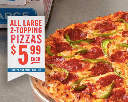 "giveback.cf is offering their Large 2-Topping Pizza at Domino's Pizza for $Carryout only. Click here to go to giveback.cf; Click ""Order Now"" on the Large 2-Topping Pizza $ offer; Note: Deal ."