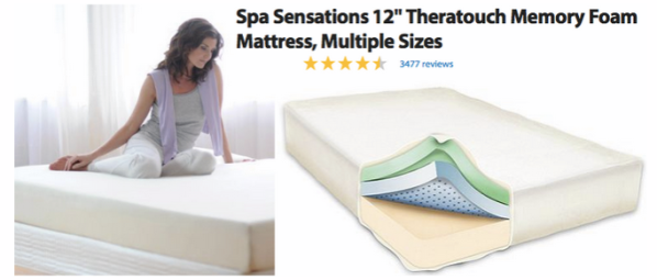Looking for a new mattress? Head over to Walmart.com where you can score  this Spa Sensations 12″ Theratouch Memory Foam Mattress, Multiple Sizes  with prices ... - Walmart.com: Spa Sensations Memory Foam Mattress As Low As $179